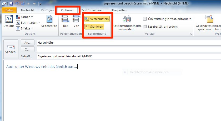 Screenshot Outlook